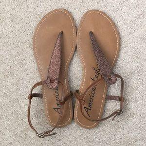 American Eagle copper/gold t-strap sandals